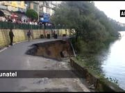 Watch: Road caves in on mall road in Nainital
