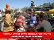 'Yamraj' comes down on road for traffic awareness drive in Indore