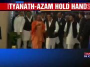 Yogi Adityanath and Azam Khan walk hand-in-hand