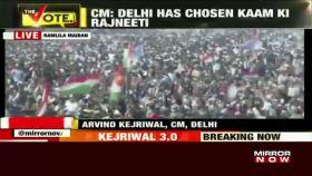 Delhi CM Arvind Kejriwal sings 'Hum honge kaamyaab' at his swearing-in ceremony