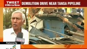 Mumbai civic body razes shanties along Tansa pipeline
