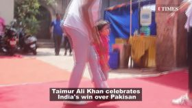 Taimur Ali Khan celebrates India's win over Pakisan