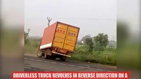 Watch: Driverless truck revolves in reverse direction, video goes viral