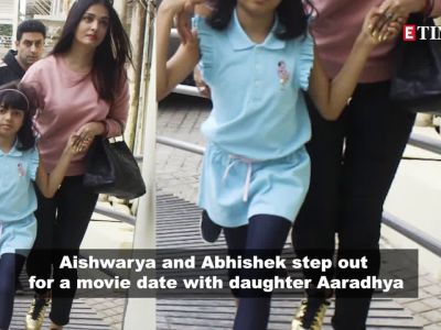 Aishwarya Rai Bachchan holds daughter Aaradhya's hand as they enjoy family outing