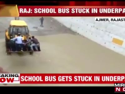 Ajmer: School bus gets stuck in flooded underpass, students safe