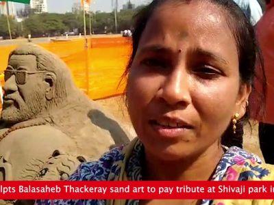 Artist sculpts Balasaheb Thackeray sand art to pay tribute at Shivaji park in Mumbai
