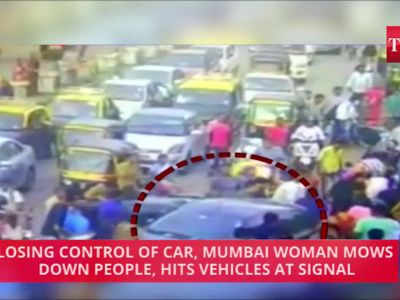 Caught on cam: Losing control of car, Mumbai woman mows down people, hits vehicles