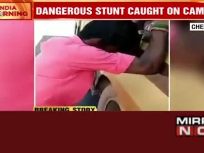 Caught on camera: Youth rides on the rim of the bus in Chennai