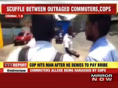 Chennai: Commuters clash with cop after he beats up man for refusing bribe