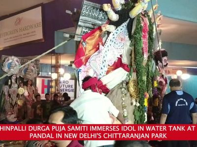 Delhi: Dakshinpalli Durga Puja Samiti opts for eco-friendly idol immersion in Chittaranjan Park