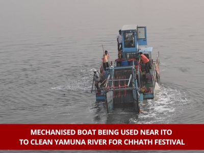 Delhi: Yamuna river cleaned for Chhath festival