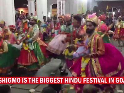 Folk dancers perform 'Ghode Modni' during Shigmo festival in Goa
