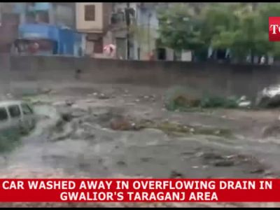 Gwalior: Car swept away as drain overflows after heavy rainfall