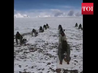 International Yoga Day: ITBP jawans perform Suryanamaskar at nearly 18000 feet in Ladakh