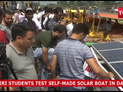 J&K: Students test solar boat in Dal Lake