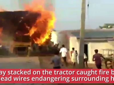Karnataka: Braveheart drives burning tractor into lake, saves village homes