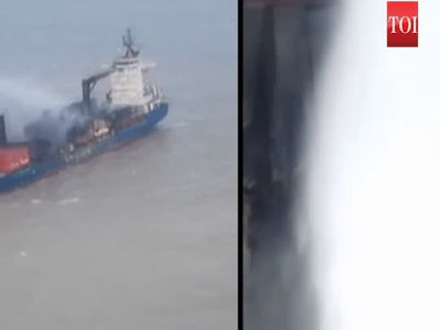 Mi-17 V5 helicopter extinguishes fire on board MV SSL Kolkata