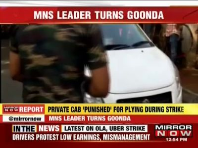 MNS leader breaks windshield of Mumbai cab