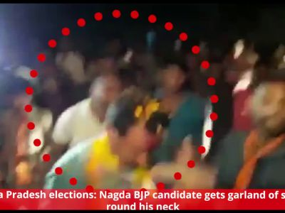 MP elections: Nagda BJP candidate gets garland of slippers round his neck
