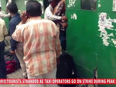 Mussoorie: Tourists stranded as taxi operators go on strike during peak season