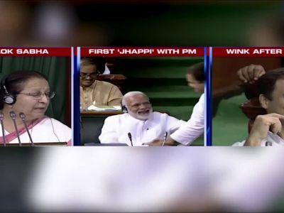 No trust vote: Rahul Gandhi winks after his hug with PM Narendra Modi in Lok Sabha