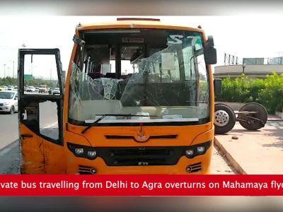 Noida: Minor killed, many injured as bus overturns on Mahamaya flyover