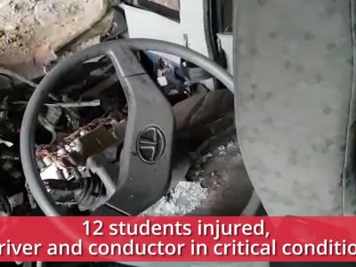 Noida: School bus loses control at Rajnigandha Chowk underpass, 12 students injured