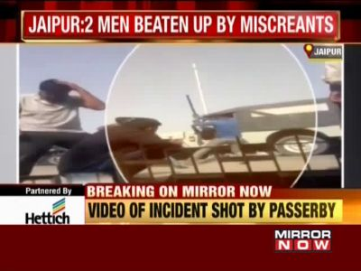 On cam: 2 men beaten up by miscreants in broad daylight in Jaipur