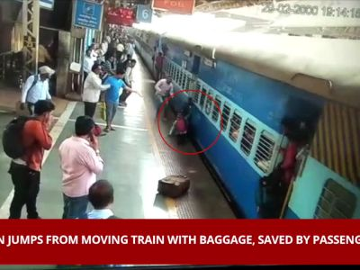 On cam: Passengers save man from coming under moving train in Mumbai