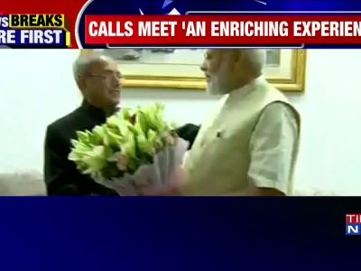 PM Narendra Modi meets Pranab Mukherjee, seeks his blessings