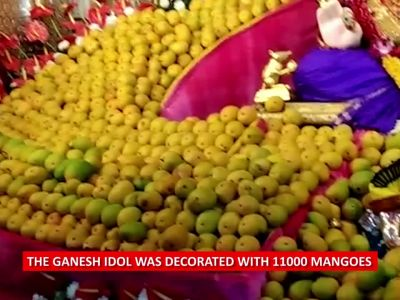 Pune: Ganpati decorated with 11000 mangoes on Akshya Tritiya