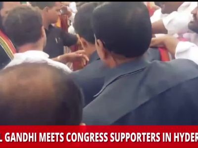 Rahul Gandhi meets Congress supporters in Hyderabad