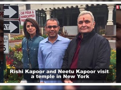 Rishi Kapoor and Neetu Kapoor visit a temple in New York