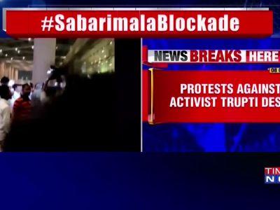 Sabarimala: Devotees protest against Trupti Desai outside Mumbai airport