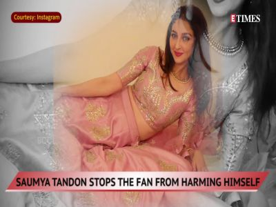 Saumya Tandon stops an obsessed fan from harming himself