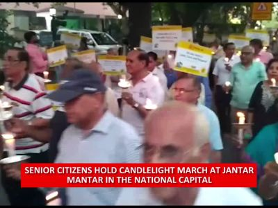 Senior citizens hold march for respect, dignity at Jantar Mantar in Delhi