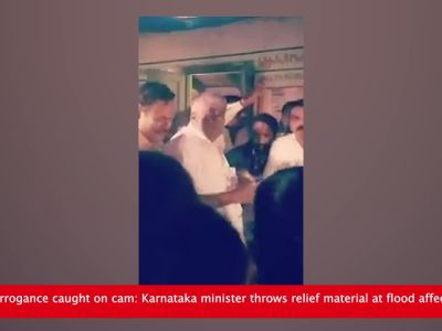 Shocking arrogance caught on cam: Karnataka minister throws relief material at flood affected people