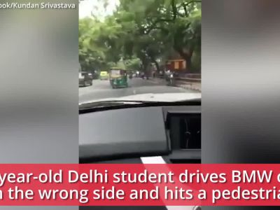 Shocking visuals: Underage boy drives father's BMW on the wrong side, hits a pedestrian