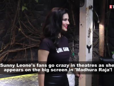 Sunny Leone is overjoyed as fans go berserk watching her special song in Mammootty film 'Madhura Raja'