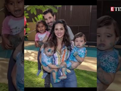Sunny Leone steps into hotel's kitchen to make breakfast for her twins Noah and Asher