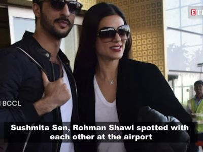 Sushmita Sen poses with rumoured boyfriend Rohman Shawl at airport