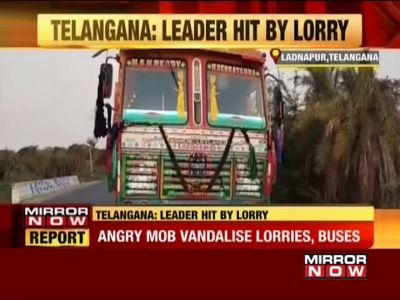 Telangana: Mob goes on rampage after lorry mows down deputy sarpanch