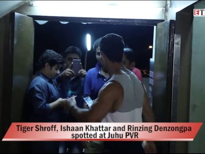 Tiger Shroff, Ishaan Khattar and Rinzing Denzongpa spotted at Juhu PVR