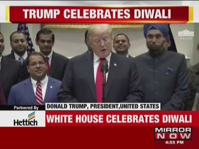US President Donald Trump celebrates Diwali at the White House