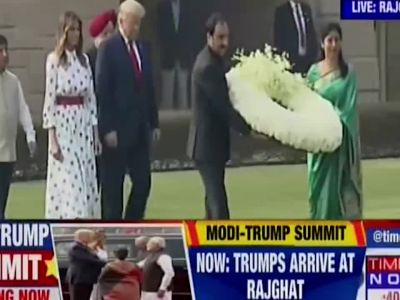 US President Trump pays tribute to Mahatma Gandhi at Rajghat