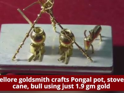 Vellore goldsmith creates Pongal pot, cane, bull using just 1.9 gm gold