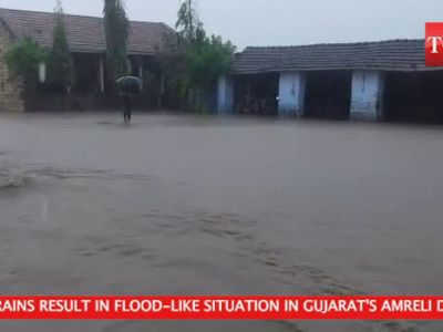 Watch: Heavy rain results in flood-like situation in Gujarat's Amreli district