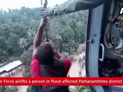 Watch: Indian Air Force airlifts a person in flood affected Pathanamthitta district of Kerala