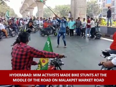 Watch: MIM activists make bike stunts at middle of the road in Hyderabad
