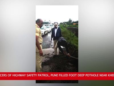 Watch: Pune cops fill foot deep pothole near Khed-Shivapur to ease traffic